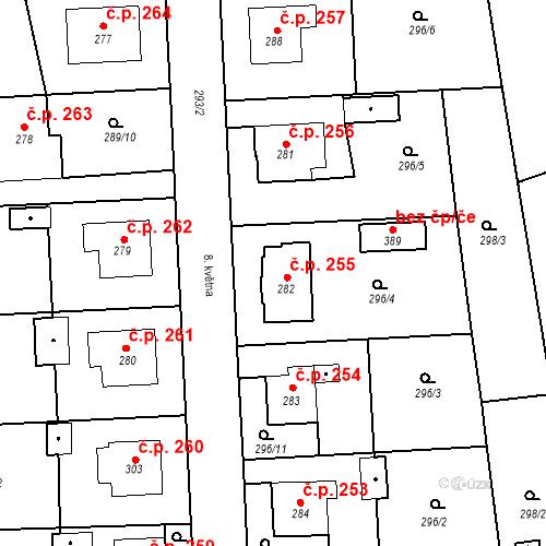 Katastrální mapa Stavební objekt Bernartice 255, Bernartice
