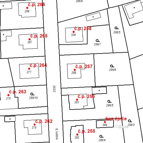 Katastrální mapa Stavební objekt Bernartice 257, Bernartice