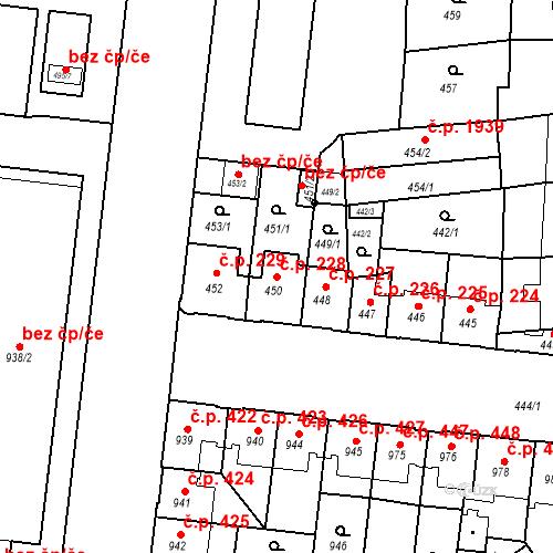 Katastrální mapa Stavební objekt České Budějovice 7 228, České Budějovice