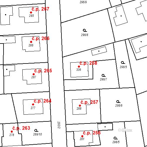 Katastrální mapa Stavební objekt Bernartice 258, Bernartice