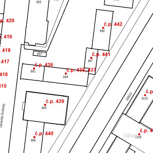 Katastrální mapa Stavební objekt České Budějovice 7 437, 438, České Budějovice