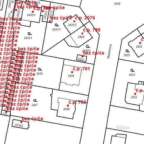 Katastrální mapa Stavební objekt České Budějovice 3 791, České Budějovice