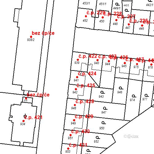 Katastrální mapa Stavební objekt České Budějovice 7 424, České Budějovice