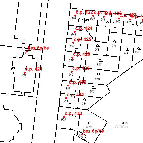 Katastrální mapa Stavební objekt České Budějovice 7 429, České Budějovice
