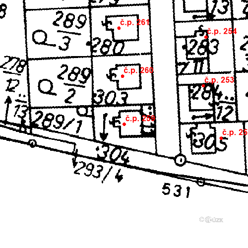 Katastrální mapa Stavební objekt Bernartice 259, Bernartice