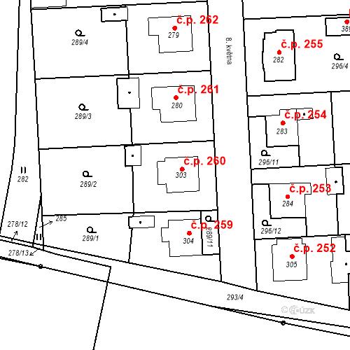 Katastrální mapa Stavební objekt Bernartice 260, Bernartice