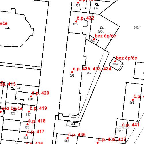 Katastrální mapa Stavební objekt České Budějovice 7 433, 434, 435, České Budějovice