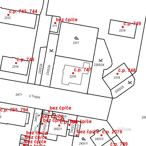 Katastrální mapa Stavební objekt České Budějovice 3 747, České Budějovice
