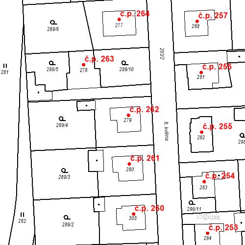 Katastrální mapa Stavební objekt Bernartice 262, Bernartice
