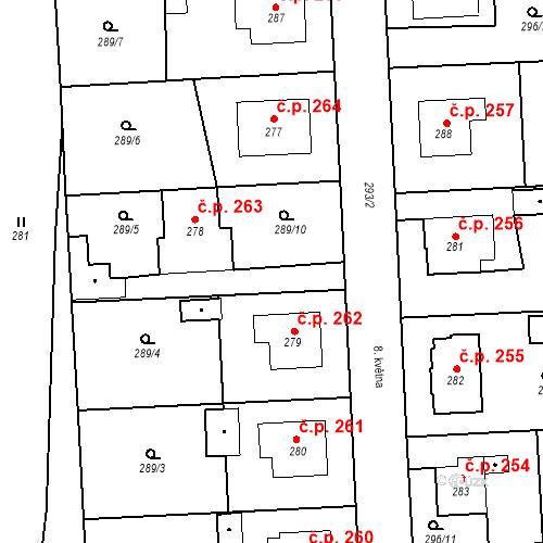 Katastrální mapa Stavební objekt Bernartice 263, Bernartice