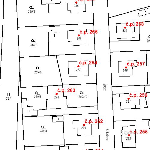Katastrální mapa Stavební objekt Bernartice 264, Bernartice