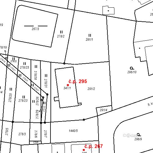 Katastrální mapa Stavební objekt Bernartice 295, Bernartice