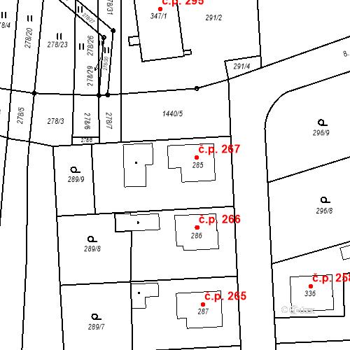 Katastrální mapa Stavební objekt Bernartice 267, Bernartice