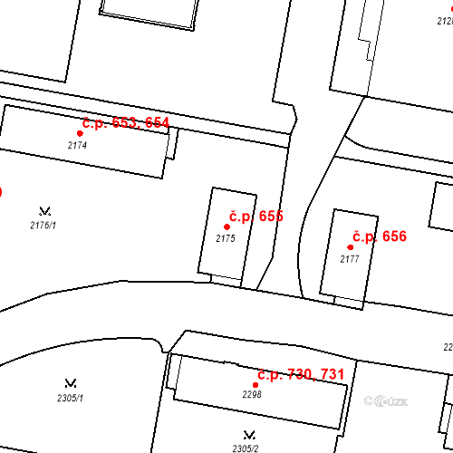 Katastrální mapa Stavební objekt České Budějovice 3 655, České Budějovice