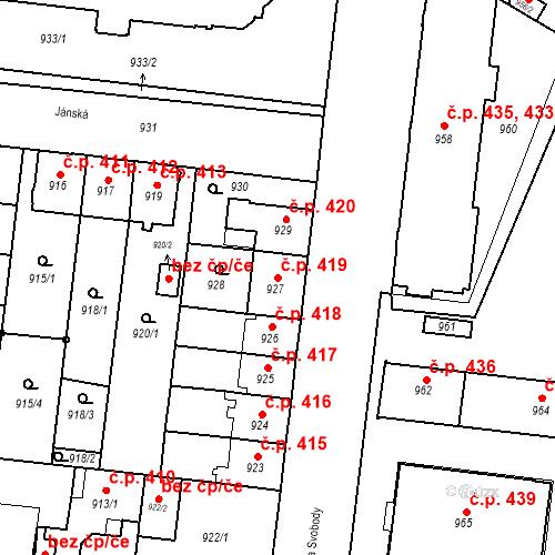 Katastrální mapa Stavební objekt České Budějovice 7 419, České Budějovice