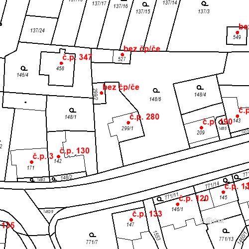 Katastrální mapa Stavební objekt Bernartice 280, Bernartice