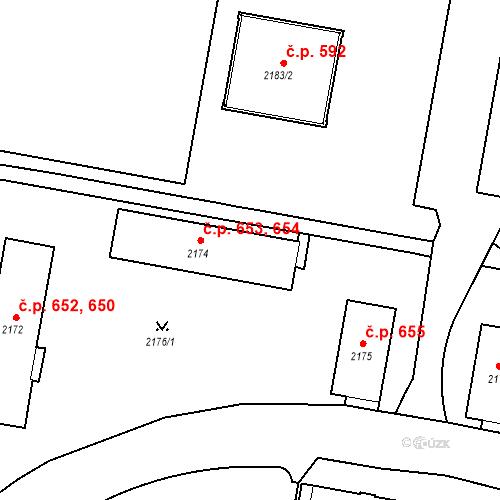 Katastrální mapa Stavební objekt České Budějovice 3 654, České Budějovice