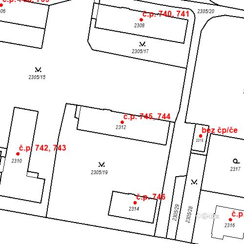 Katastrální mapa Stavební objekt České Budějovice 3 744, 745, České Budějovice