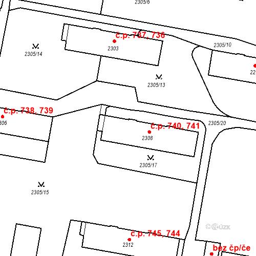 Katastrální mapa Stavební objekt České Budějovice 3 740, 741, České Budějovice