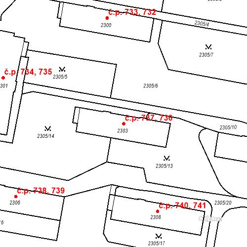Katastrální mapa Stavební objekt České Budějovice 3 736, 737, České Budějovice