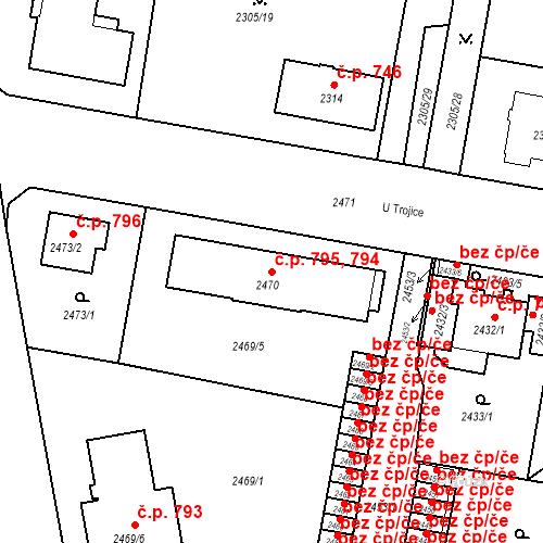 Katastrální mapa Stavební objekt České Budějovice 3 794, 795, České Budějovice