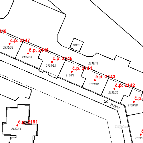 Katastrální mapa Stavební objekt České Budějovice 3 2144, České Budějovice