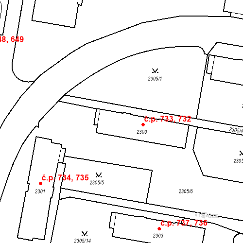 Katastrální mapa Stavební objekt České Budějovice 3 732, 733, České Budějovice