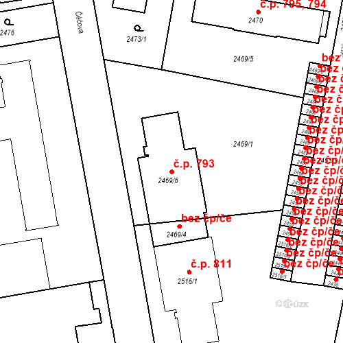 Katastrální mapa Stavební objekt České Budějovice 3 793, České Budějovice