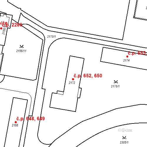 Katastrální mapa Stavební objekt České Budějovice 3 652, České Budějovice