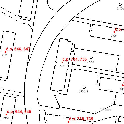 Katastrální mapa Stavební objekt České Budějovice 3 734, 735, České Budějovice