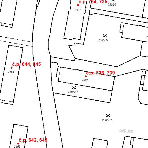 Katastrální mapa Stavební objekt České Budějovice 3 738, 739, České Budějovice