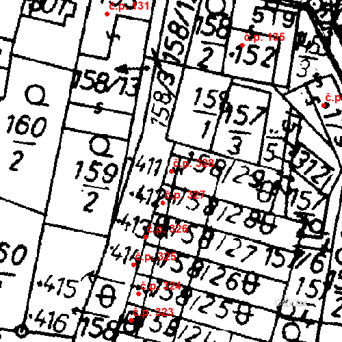 Katastrální mapa Stavební objekt Bernartice 328, Bernartice
