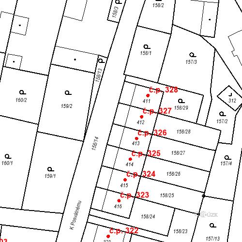 Katastrální mapa Stavební objekt Bernartice 327, Bernartice