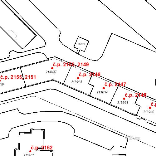 Katastrální mapa Stavební objekt České Budějovice 3 2148, České Budějovice
