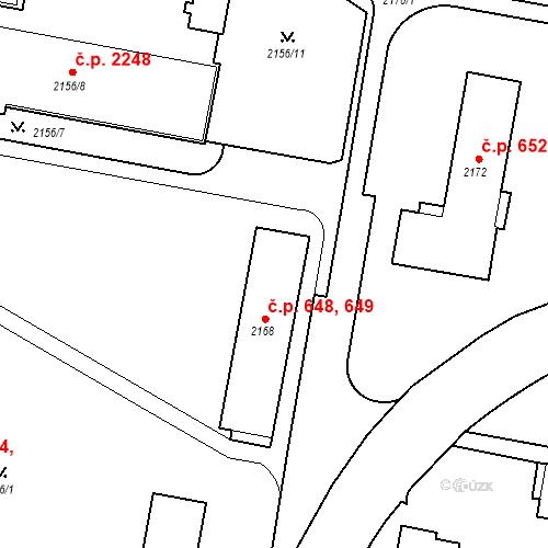 Katastrální mapa Stavební objekt České Budějovice 3 648, 649, České Budějovice
