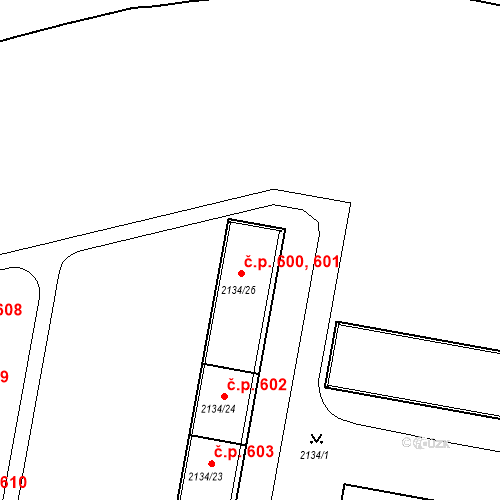 Katastrální mapa Stavební objekt České Budějovice 3 600, 601, České Budějovice