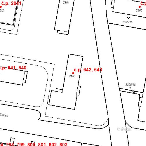 Katastrální mapa Stavební objekt České Budějovice 3 642, 643, České Budějovice