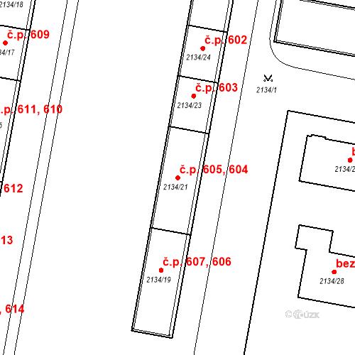 Katastrální mapa Stavební objekt České Budějovice 3 604, 605, České Budějovice