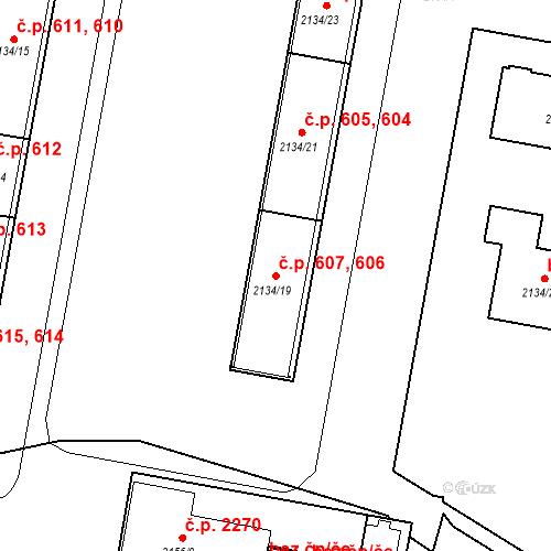 Katastrální mapa Stavební objekt České Budějovice 3 606, 607, České Budějovice