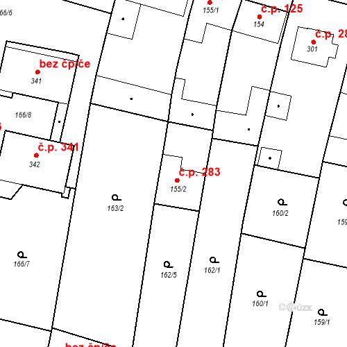Katastrální mapa Stavební objekt Bernartice 283, Bernartice