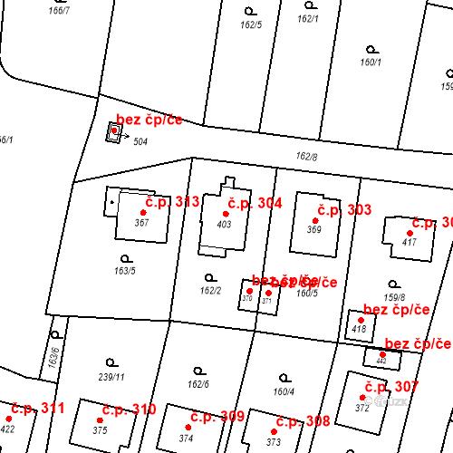 Katastrální mapa Stavební objekt Bernartice 304, Bernartice
