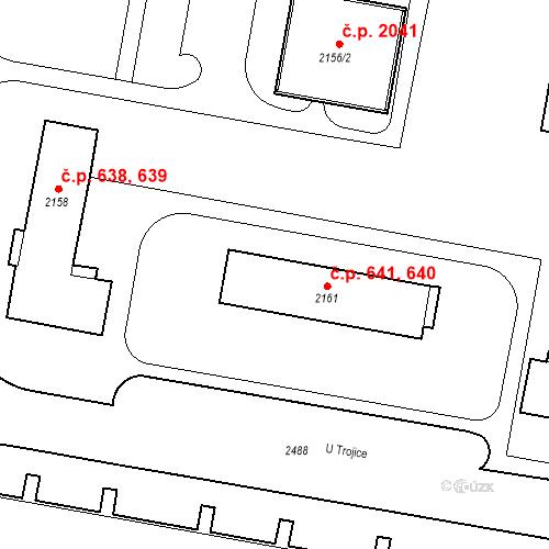 Katastrální mapa Stavební objekt České Budějovice 3 640, 641, České Budějovice