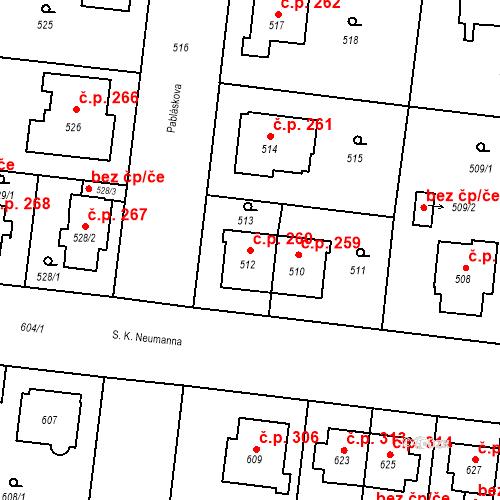 Katastrální mapa Stavební objekt České Budějovice 7 260, České Budějovice