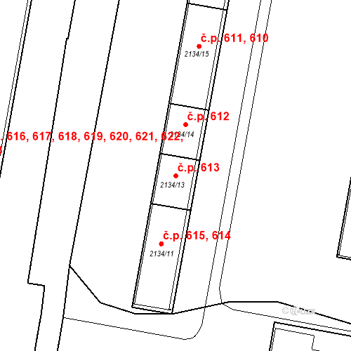 Katastrální mapa Stavební objekt České Budějovice 3 613, České Budějovice