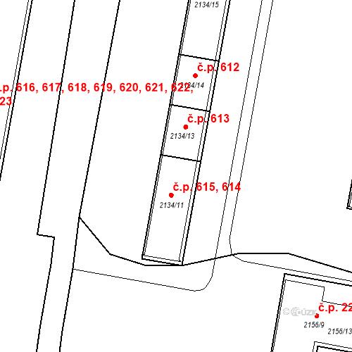Katastrální mapa Stavební objekt České Budějovice 3 614, 615, České Budějovice