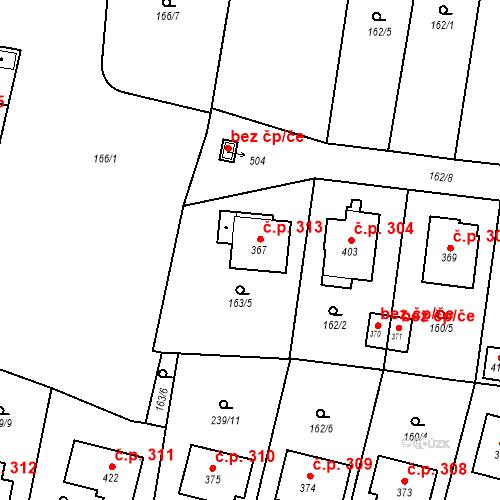 Katastrální mapa Stavební objekt Bernartice 313, Bernartice