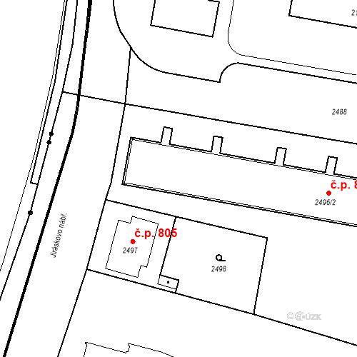 Katastrální mapa Stavební objekt České Budějovice 3 801, České Budějovice