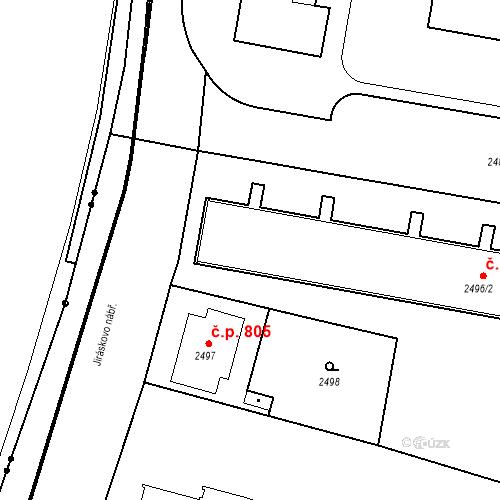 Katastrální mapa Stavební objekt České Budějovice 3 802, České Budějovice