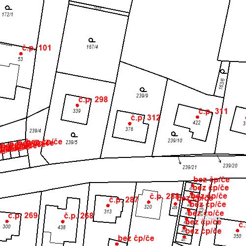 Katastrální mapa Stavební objekt Bernartice 312