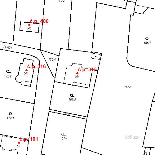 Katastrální mapa Stavební objekt Bernartice 315, Bernartice